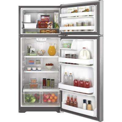 17.5 cu. ft. Top Freezer Refrigerator in Stainless Steel with Icemaker
