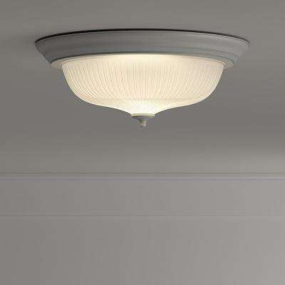 15 in. 3-Light White Dome Flush Mount with White Glass Shade