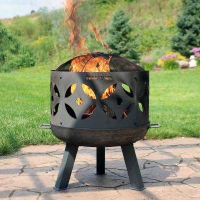 26 in. x 29 in. Round Cast Iron Retro Outdoor Wood Fire Pit Bowl in Gray with Spark Screen