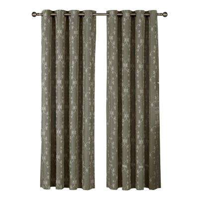 Geo Gate Embroidered Faux Linen Extra Wide 96 in. L Grommet Curtain Panel Pair, Charcoal (Set of 2)