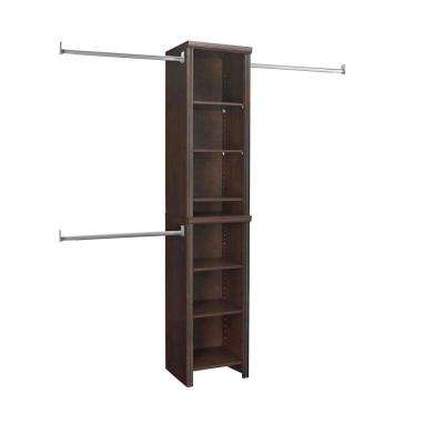 Impressions 14 in. D x 16 in. W. x 82 in. H Chocolate Wood Narrow Closet System Kit