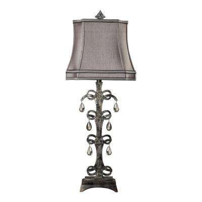 Castello 37 in. Durand Teak Crystal Table Lamp