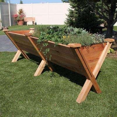 48 in. x 30 in. Rustic Cedar Modular Eco Wedge Planter Extension Kit