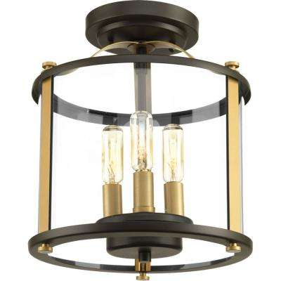 Squire Collection 3-Light Antique Bronze Outdoor Flush Mount