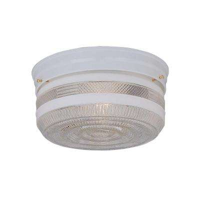 2-Light Chrome Flush Mount with Clear Textured Shade