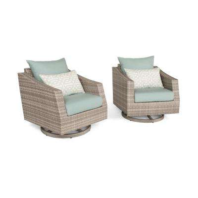 Cannes 5-Piece All-Weather Wicker Patio Motion Club Chair Conversation Set with Spa Blue Cushions