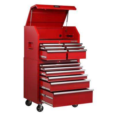 36 in. W x 24.5 in. D 12-Drawer Tool Chest and Rolling Cabinet Combo in Red