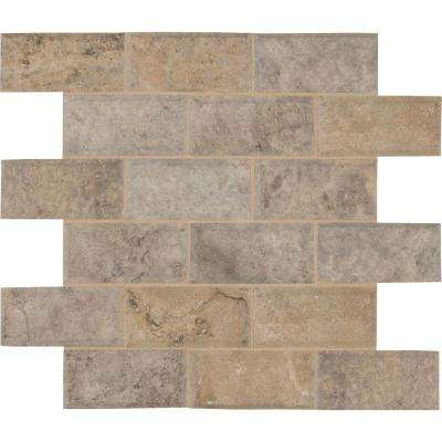 Silver 12 in. x 12 in. x 10 mm Honed Travertine Mesh-Mounted Mosaic Wall Tile