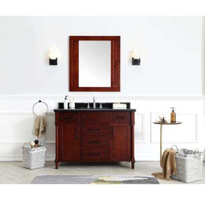 Aberdeen 48 in. W x 22 in. D Bath Vanity in Dark Cherry with Granite Top in Black with White Sink