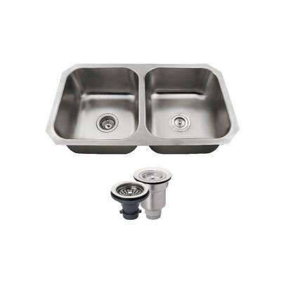All-in-One Undermount Stainless Steel 32 in. Double Basin Kitchen Sink