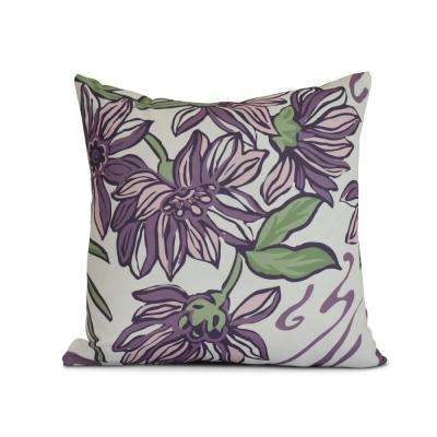 16 in. Iona Floral Print Pillow in Purple