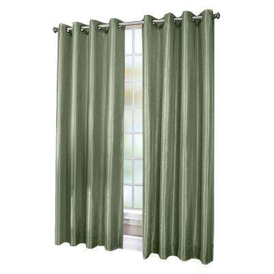 Chloe Sage Lined Faux Silk Grommet Curtain Panel, 84 in. Length