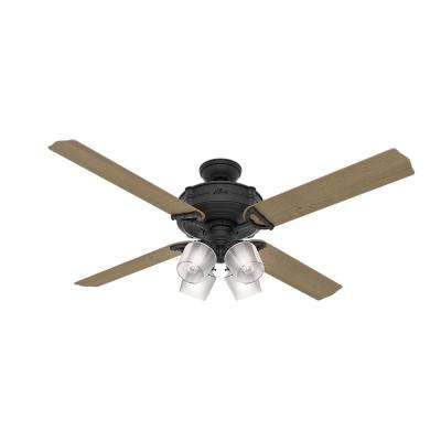 Brunswick 60 in. LED Indoor Natural Iron Wi-Fi Enabled Ceiling Fan with 4-Light Kit and Handheld Remote Control