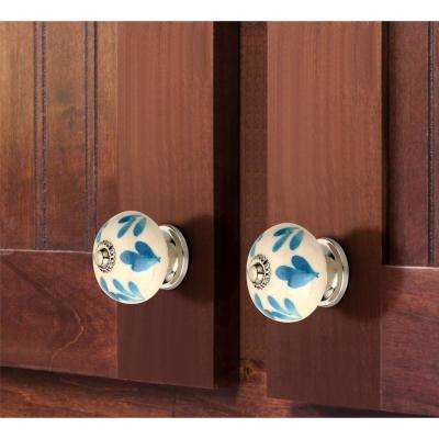 Floral Elegant 1-3/5 in. (41mm) Blue and White Cabinet Knob (Pack of 5)