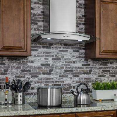 36 in. Convertible Wall Mount Range Hood in Stainless Steel with Tempered Glass, LEDs and Carbon Filters