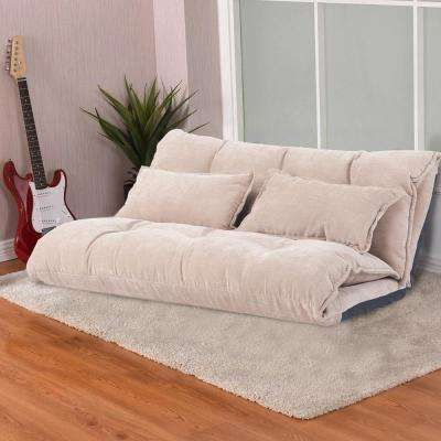 Beige with 2-Pillows Adjustable Foldable Modern Leisure Sofa Bed Video Gaming Sofa