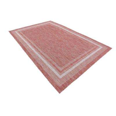Outdoor Soft Border Rust Red 6' 0 x 9' 0 Area Rug