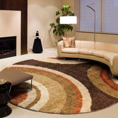 Eclipse Brown 8 ft. Round Area Rug