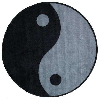 Fun Time Shape Ying Yang 51 in. Round Area Rug