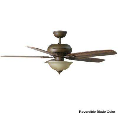 Southwind 52 in. LED Indoor Venetian Bronze Ceiling Fan with Light Kit and Remote Control