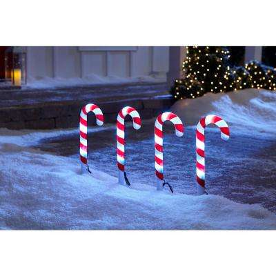 18 in. Christmas ColorChanging Pathway Stakes Candy Cane (Set of 4)