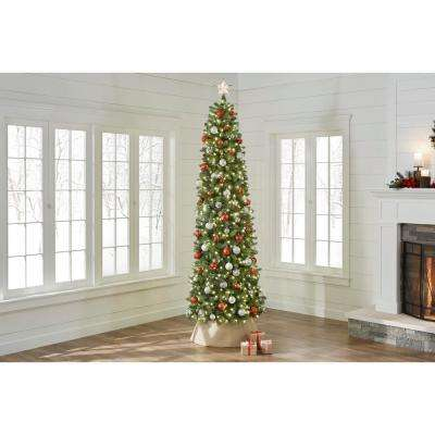 9 ft. Pre-Lit LED Manchester Fir Slim Artificial Christmas Tree with 500 Warm White Lights