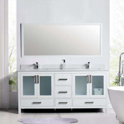 21 in. W x 34 in. D x 71 in. H Vanity with Vanity Top in White with White Basin
