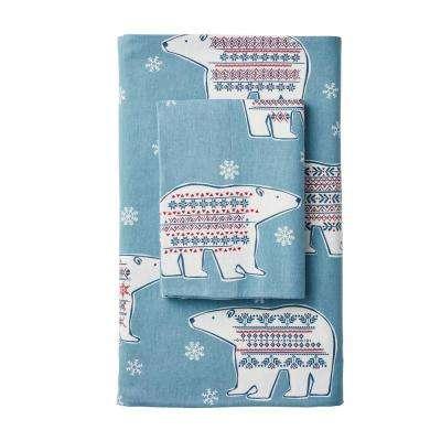 Fair Isle Bear Flannel Pillowcase (Set of 2)