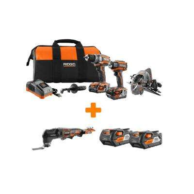 GEN5X 18-Volt Lithium-Ion Brushless Cordless Combo Kit (3-Tool) with Bonus JobMax Bare Tool and 4.0Ah Battery (2-Pack)