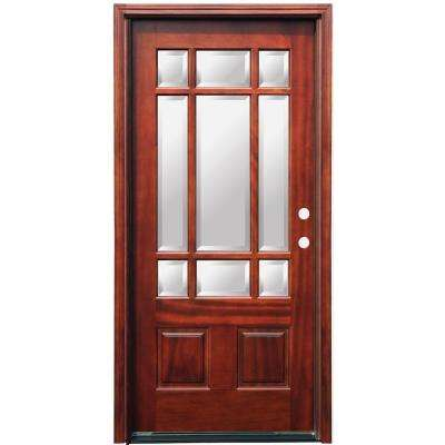 Craftsman 9 Lite Stained Mahogany Wood Prehung Front Door with 6 in. Wall Series