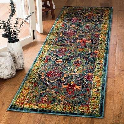 Cherokee Blue/Red 2 ft. x 8 ft. Runner Rug