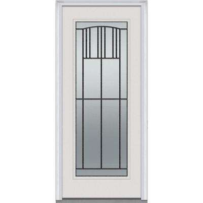 36 in. x 80 in. Madison Decorative Glass Full Lite Painted Fiberglass Smooth Prehung Front Door