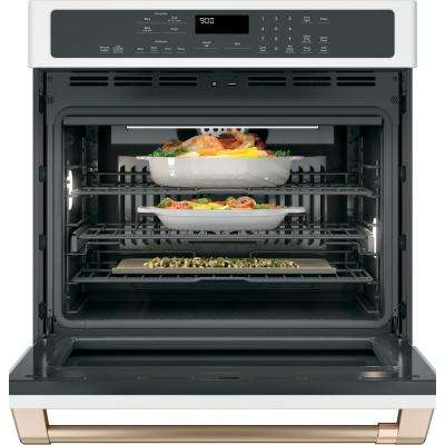 30 in. Single Electric Wall Oven with Convection Steam-Cleaning in Matte White, Fingerprint Resistant