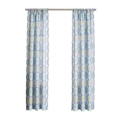 No. 918 Millennial Delia Lapis Heathered Print Curtain Panel