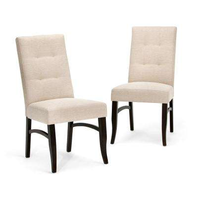 Ezra Linen Look Fabric Upholstery Dining Chair in Natural (2-Pack)