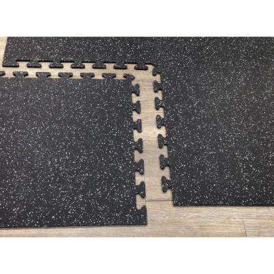 Black with Gray Speck 24 in. x 24 in. Finished Side Recycled Rubber Floor Tile (16 sq. ft./ case)