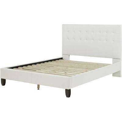london white leather twin platform bed