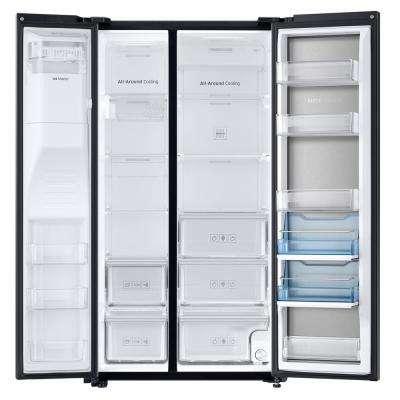 21.5 cu. ft. SidebySide Refrigerator in Fingerprint Resistant Black Stainless, Counter Depth Food Showcase Design