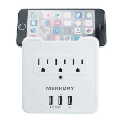 3 AC Outlet and 3 USB 3.1 Amp Wall Surge Protector and Phone Holder
