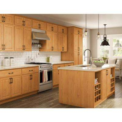 Madison Assembled 33x96x24 in. Pantry/Utility Double Oven Cabinet in Warm Oak