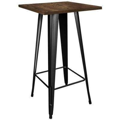 Loft Style Black Metal Pub Table with Wooden Top