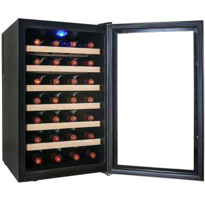 28-Bottle Single Zone Thermoelectric Wine Cooler in Stainless Steel with Wooden Shelves