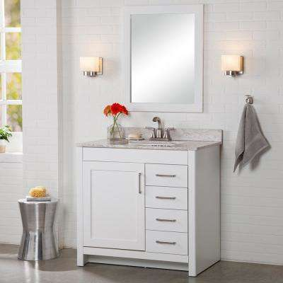 Westcourt 37 in. W x 22 in. D Bath Vanity in White with Stone Effect Vanity Top in Winter Mist with White Sink