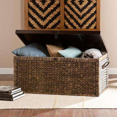 Water Hyacinth Storage Trunk Rectangular Black/ Espresso Accent Table