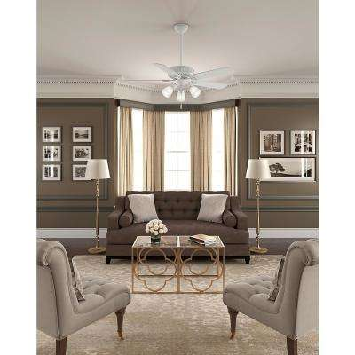 Ainsworth Gallery 54 in. Indoor Cottage White Ceiling Fan with Light