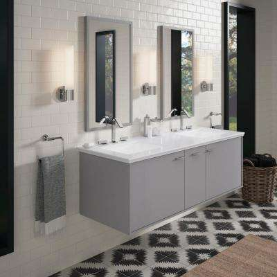 Jute 60 in. W Wall-Hung Vanity in Mohair Grey with Marble Vanity Top in Carrara and White Basins