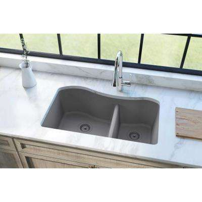 Quartz Classic Undermount Composite 33 in. Rounded 60/40 Double Bowl Kitchen Sink in Greystone