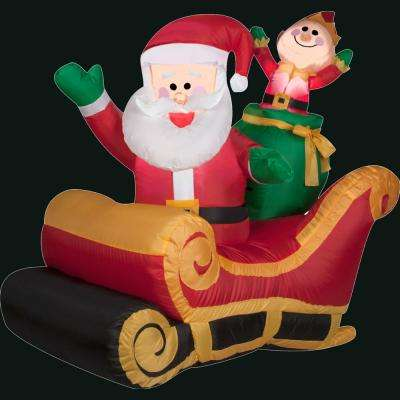 41.34 in. L x 27.56 in. W x 42.13 in. H Inflatable Santa with Sleigh