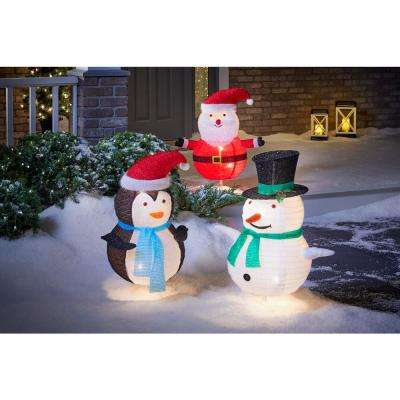 Toasty Tinsel 30 in. Lighted Collapsible Snowman