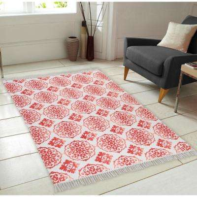 Ornamental Pattern Vintage Hand-Woven Coral 5 ft. x 7 ft. Area Rug